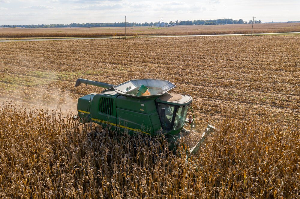Combine harvesting grain on Maryland's Eastern Shore. Image is by Edwin Resmberg.