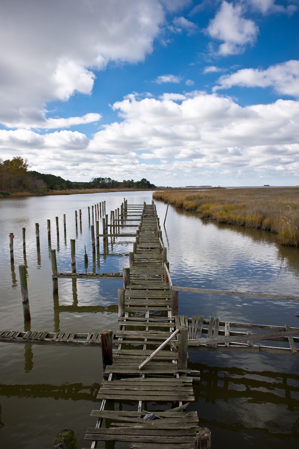 Photo shows a dilapidated dock on Wetipquin Creek, Maryland. Photo Credit: Edwin Remsberg.