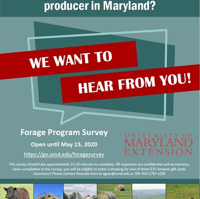 If you are a forage producer in MD, take a second to complete the UME Forage Program's needs assessment survey.  Link to survey can be found by clicking on the link in my profile.  @umdextension @umd_agnr