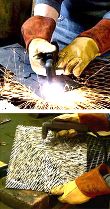 Plasma cutting is a process that uses high velocity compressed air as a cutting gas. The quality of the cut is superb. This high velocity gas, or plasma, conducts electricity from the torch to the work piece. The plasma heats the work piece melting the material.  You can cut along a predetermined line drawn on the surface of the steel and get a precise cut. Organic and geometric cuts are possible.