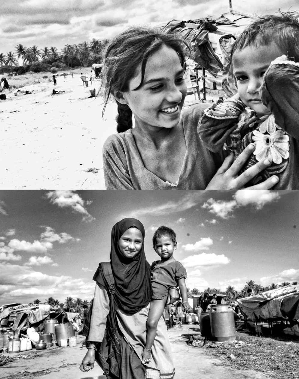 Meet Rehana and her younger sister Aisha. I met Rehana a few weeks ago (photo on top) where she was walking around the dusty colony barefooted carrying her baby sister around. When asked about school, she said that she didn't go to school that day because her mother had to go for a bath. Let that sink in.. A girl who already faces numerous odds doesn't go to school because she has to take care of her sister while her mother goes for a bath. The community has very poor hygiene an sanitation and the availability of water is a privelage which pushes aside even basic education. Today however, I was happy to see her come back from school all smiling and fresh in her uniform (bottom photo). Her mother's next bath day may be another day without school though. #BangaloreBaptistHospital Community Health Department provides healthcare and training to this community regularly and my documentary project there enabled to meet these lovely children.