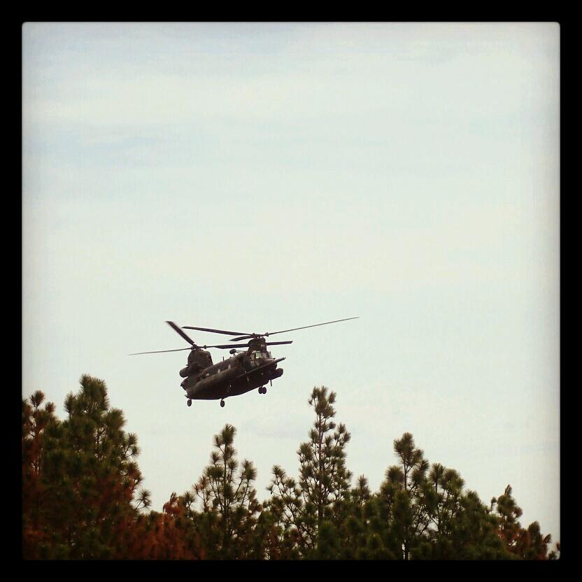 Chinooks arrive.