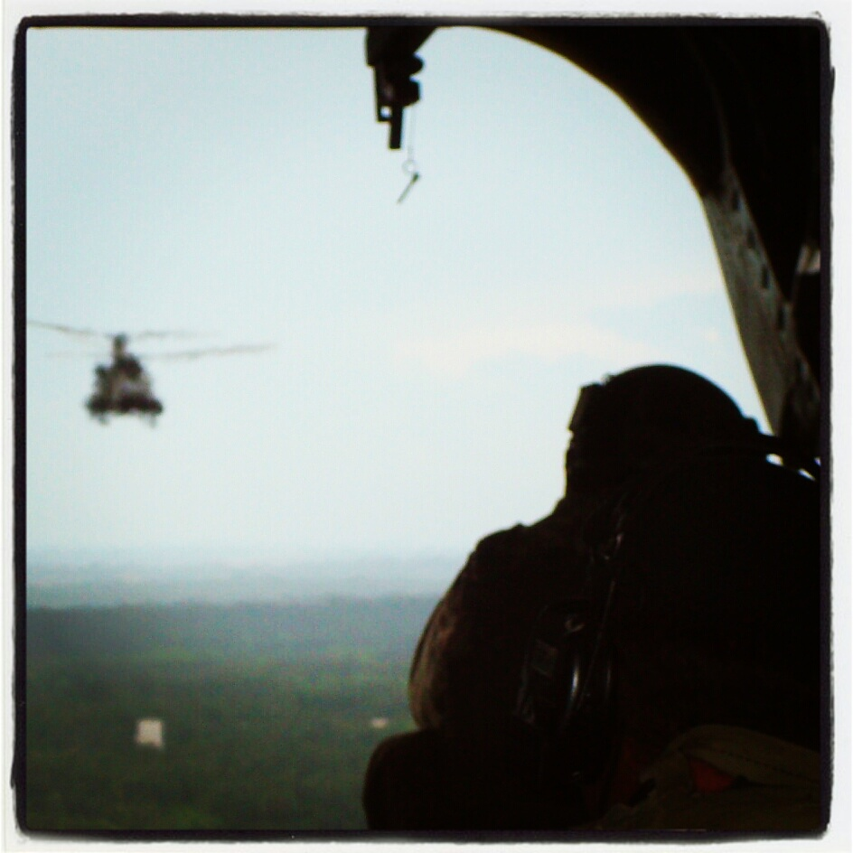 Aboard a Chinook.