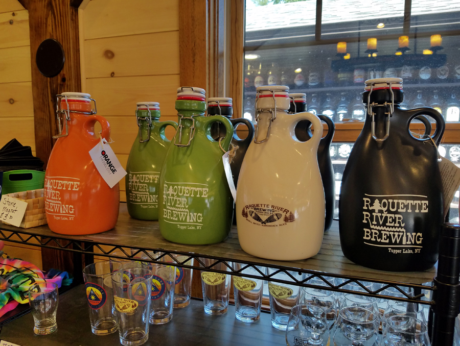 Raquette River Brewing has an impressive array of swag including these handsome juice jugs!