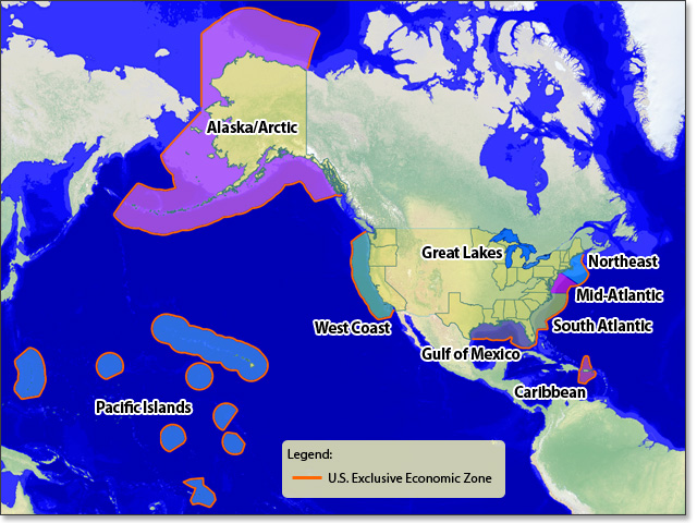 Ocean, coastal and Great Lake regions around the U.S.