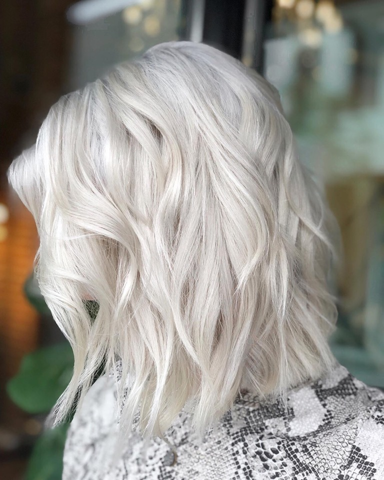another beautiful platinum blondes by Amy Hood of Studio Chavarria Asheville NC