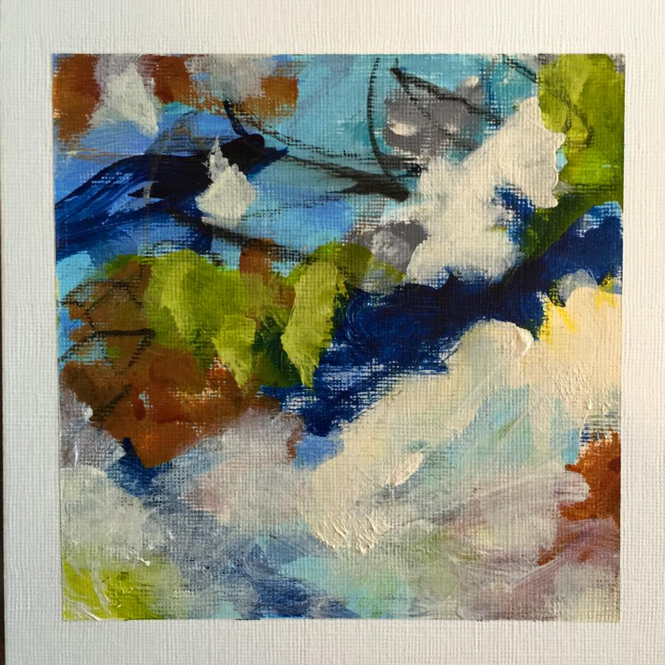 """Brand new 5""""x5"""" mini abstract paintings framed and ready to display available only at tonight's event. This is one of six that will be available. A great littlestart or addition to your art collection."""