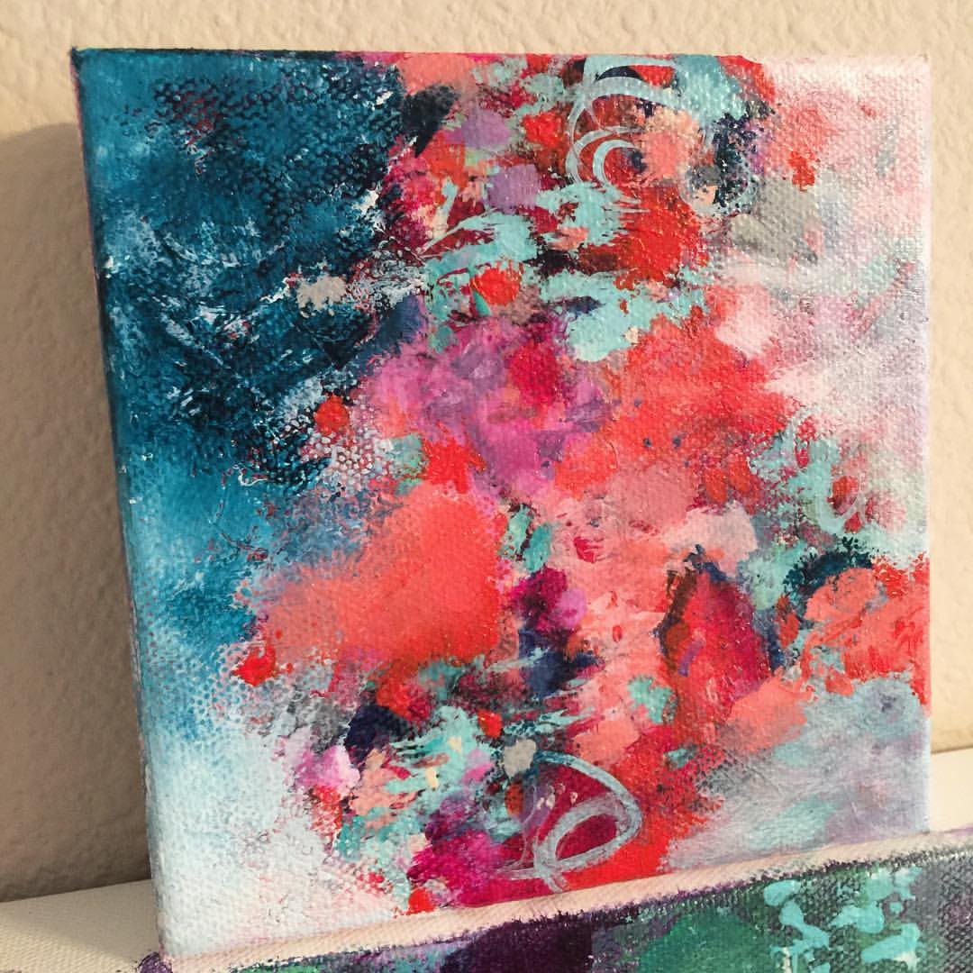 """Mini painting in progress - 5""""x5"""" on 1.5"""" thick gallery wrapped canvas 