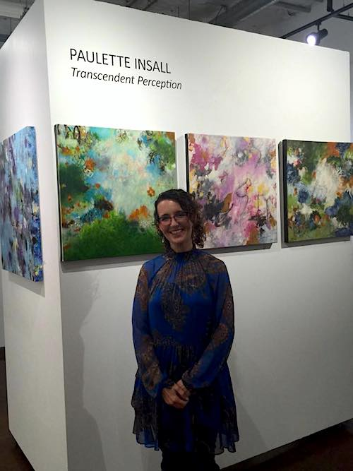 Portland artist Paulette Insall on opening night of her exhibition at an art gallery in Portland's prestigious Pearl District