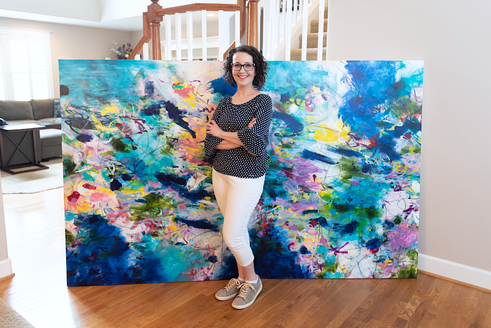 Paulette Insall top Portland artist large colorful painting for high end luxury homes