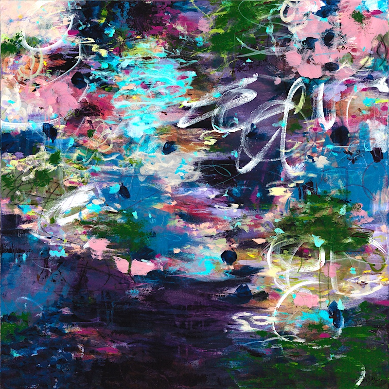 Monet Giverny garden inspired abstract impressionist floral original painting by Portland Oregon artist Paulette Insall