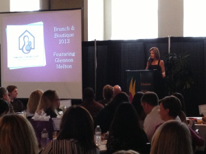 Glennon Doyle Melton, speaking at the Boutique and Brunch fundraiser