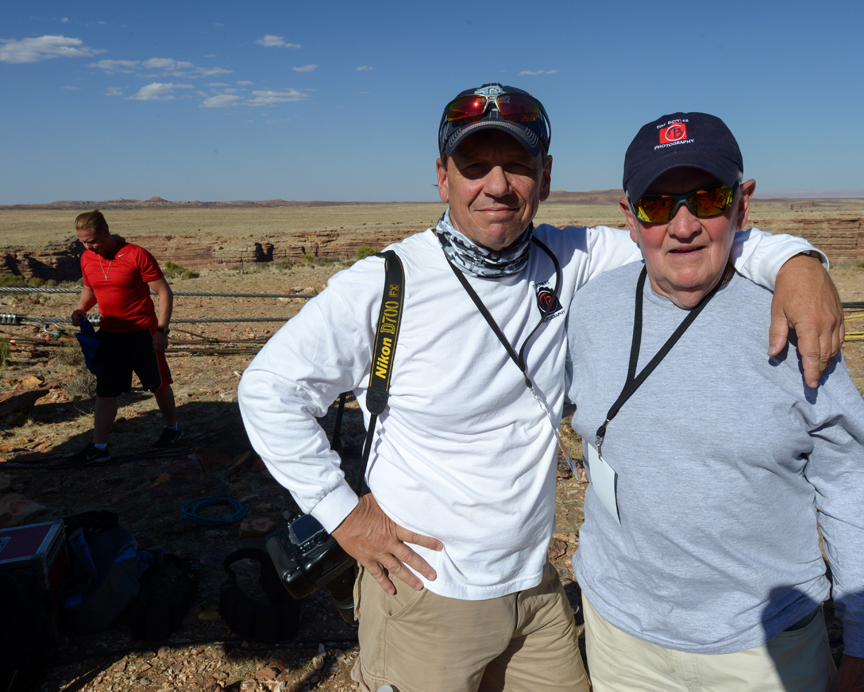 With my father as Nik Wallenda's personal photographer at the Grand Canyon in 2013. Thomas Bender Photograph. In this image, Thomas placed Nik where he belonged. In the background. He is very good at what he does.