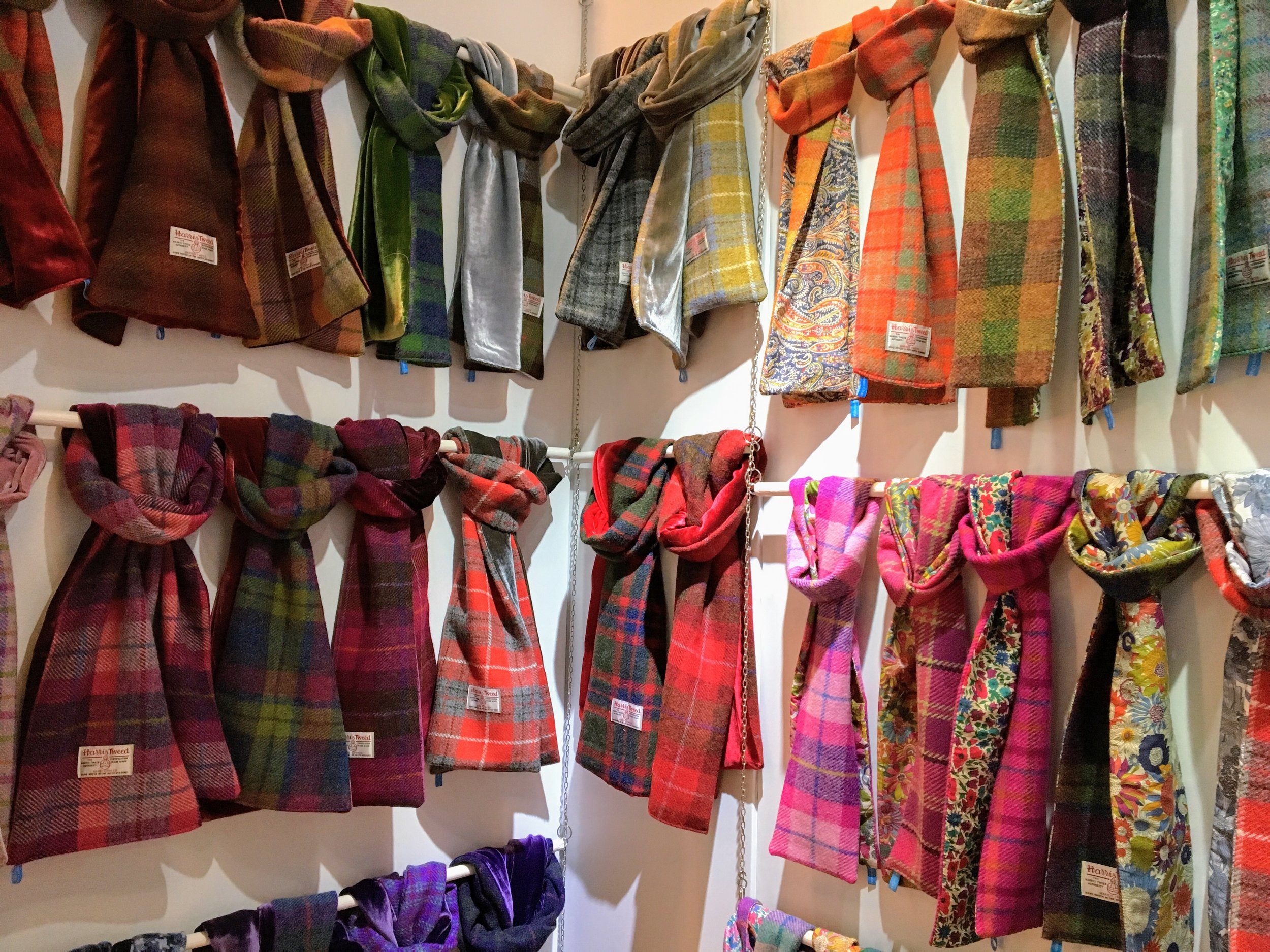 Scarves made of Harris tweed combined with printed fabrics and velvet by  Helen Chatterton
