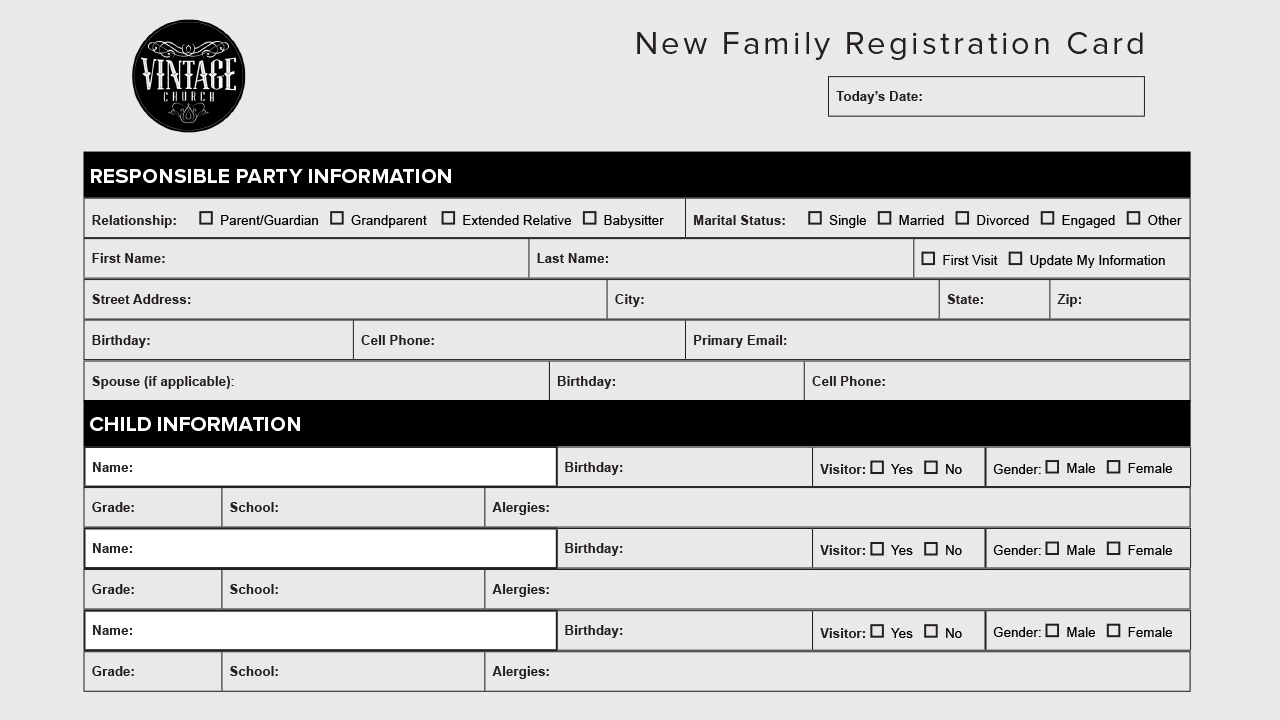 New Family Registration Card