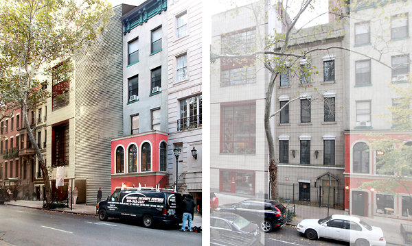Left, a rendering shows East 64th Street with No. 162 razed and replaced by a fritted glass structure with a bowed facade by Rafael Viñoly. Right, No. 162 as it looks today.