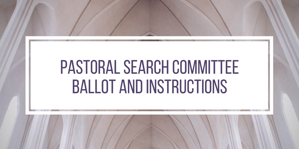 At the congregational meeting on Sunday, June 10, a process was introduced for collecting nominations for the search committee that will be formed to find EPC's next senior pastor. You can read more about that process in full   on our website here  .  Below is a link to the ballot for the pastoral search committee that has been approved by the Session.  You will receive a printed copy of this ballot as you enter worship on Sunday, July 15. At the congregational meeting immediately following the service, you will mark your selected candidates, place your ballot into an envelope, write your name on the envelope (to verify that only member votes are counted), and insert your ballot into the collection box.  If you have requested an absentee ballot, please follow the voting instructions in the email you received from Bob Almond.  Votes will be counted on Monday, 7/16, and results will be announced soon afterwards.  In the meantime, if you have questions about the ballot or voting process, please ask any elder or Pastor Post or Gorsuch.