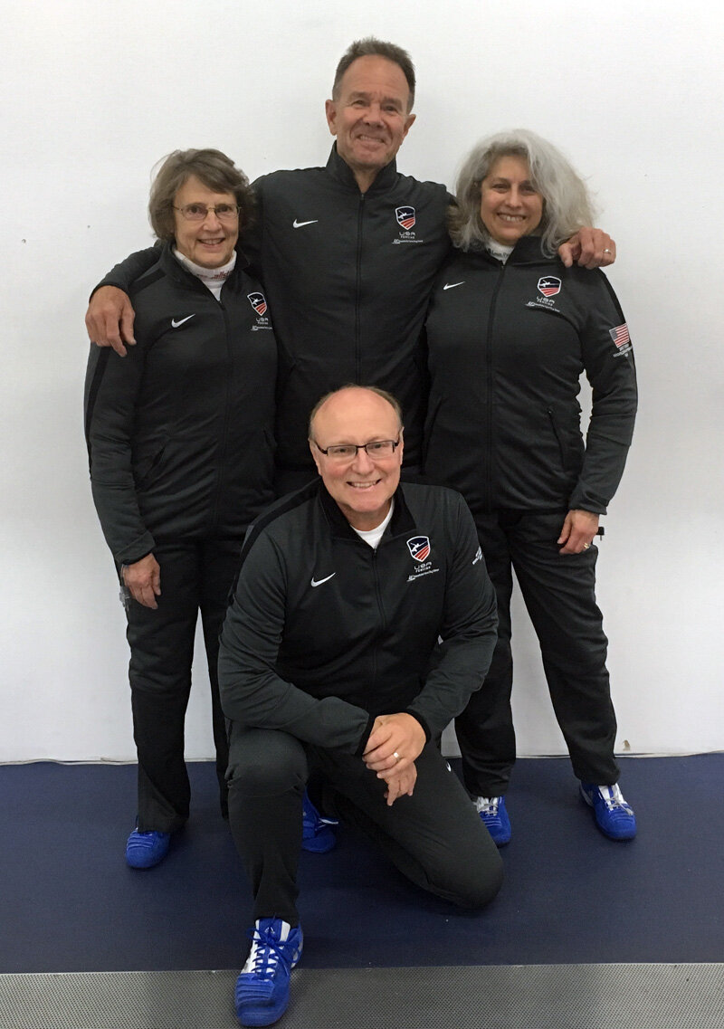 Bonnie Aher, Jan Patterson and Anna Telles with Coach Marshall Hibnes