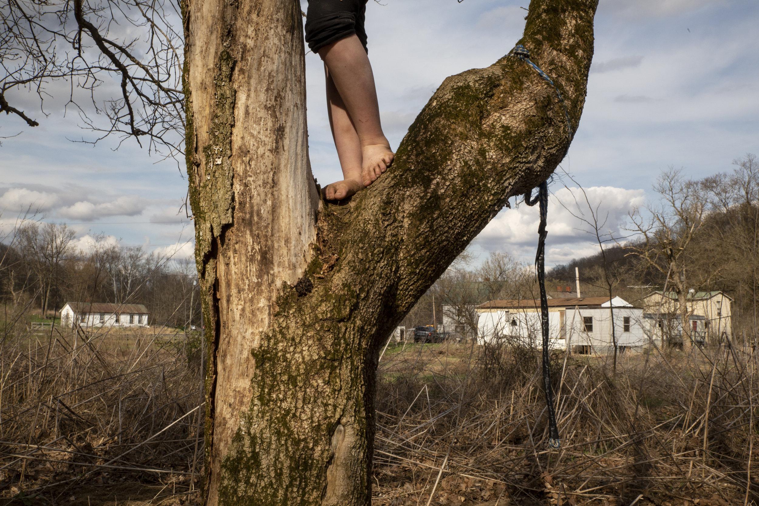"""Brooklyn Roof, 6, climbs a tree near her home — a rented trailer in Sharpsburg, Ohio. The Roof family has resided in Sharpsburg for nine years, but worry about their future because the community lies in a flood zone near Sharps Fork Federal Creek. """"I don't want my house to wash away,"""" says Audra Roof."""