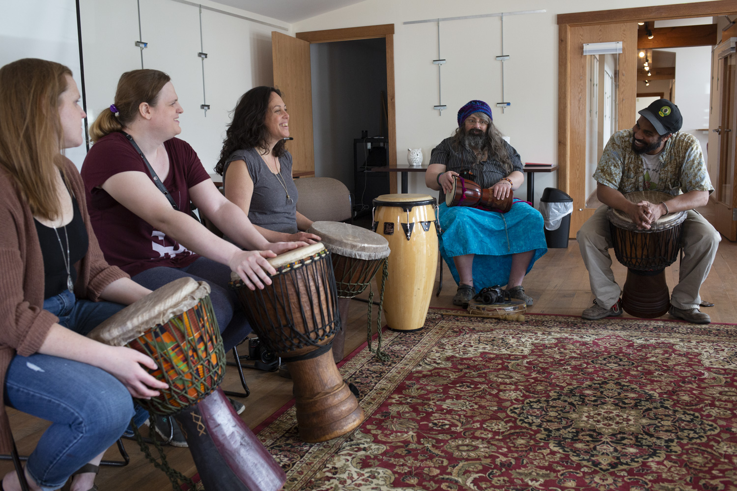 """Smith attends a drumming workshop at Athens Photo Project on April 10, 2019, nearly four months after her surgery. """"When you're feeling some kind of hurt and pain inside, playing music or writing poetry or stories, it lets the emotion out,"""" Smith said, adding """"especially music because it can tune into your soul."""""""