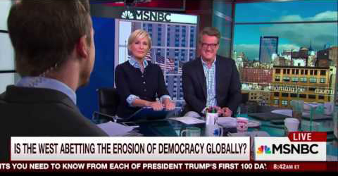this was klaas's first appearance on msnbc's morning joe. He went on to become a regular guest.