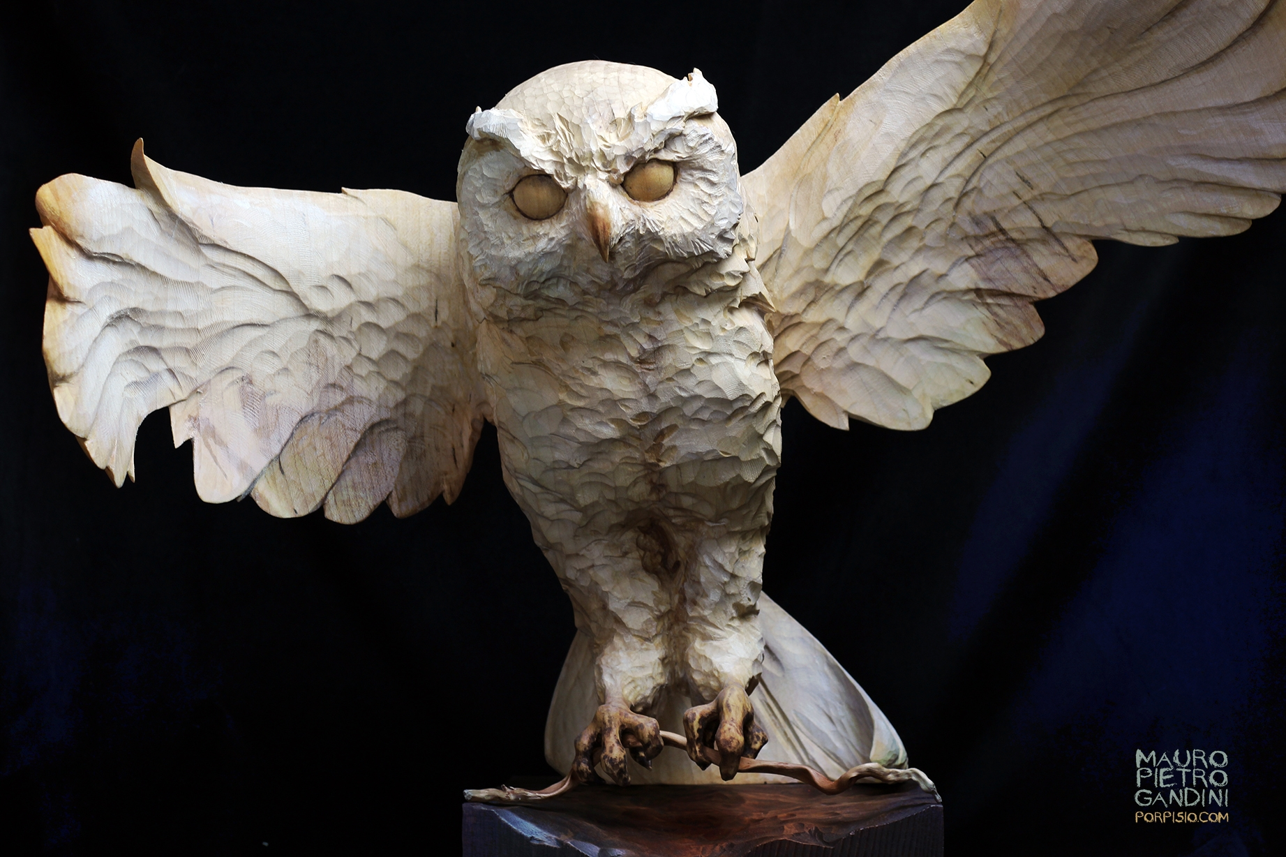 Owl handcarved on maple wood