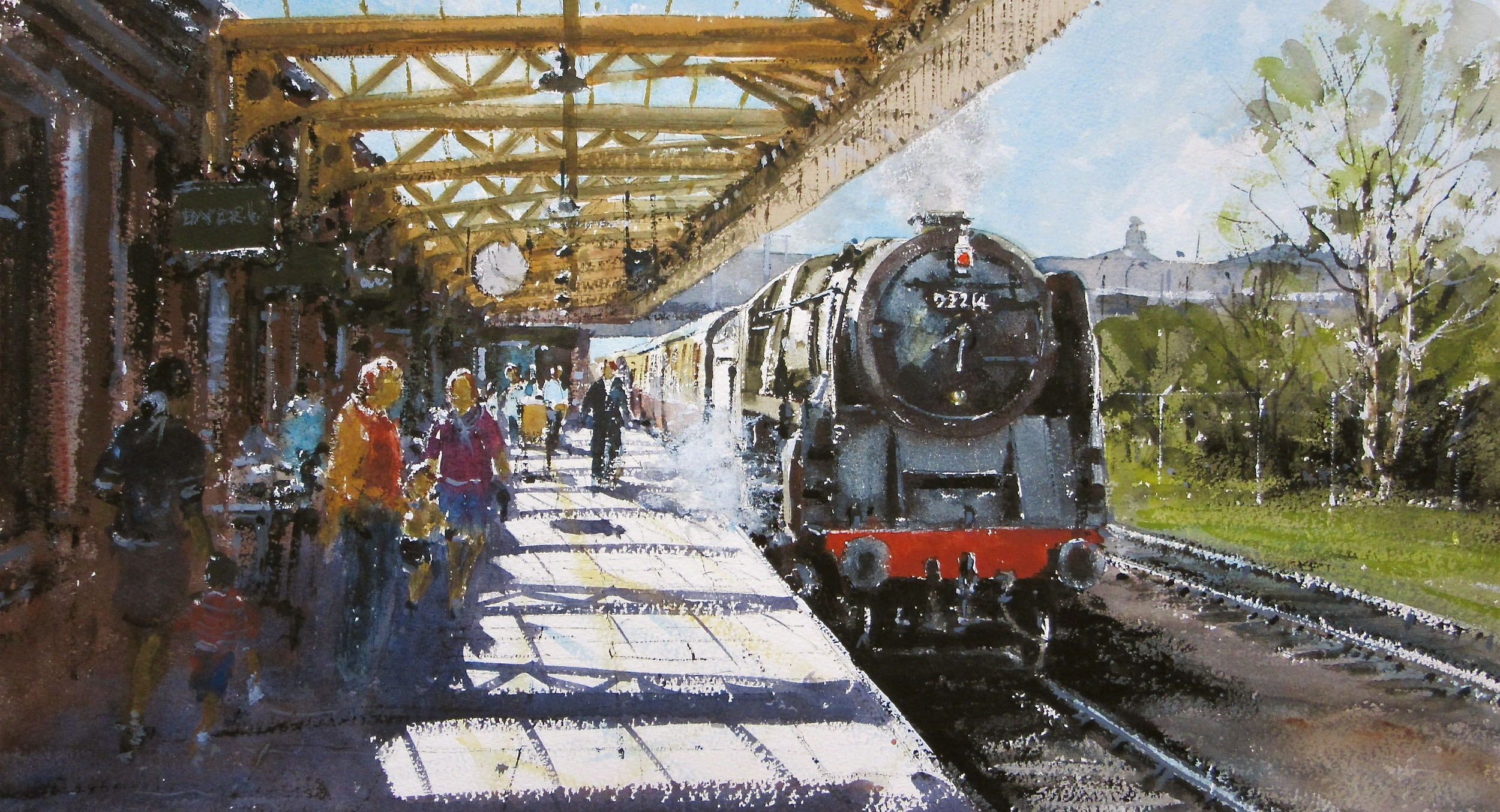 9F no. 92214 Arriving at Loughborough on the GCR: 13 x 24 in: watercolour: £1150
