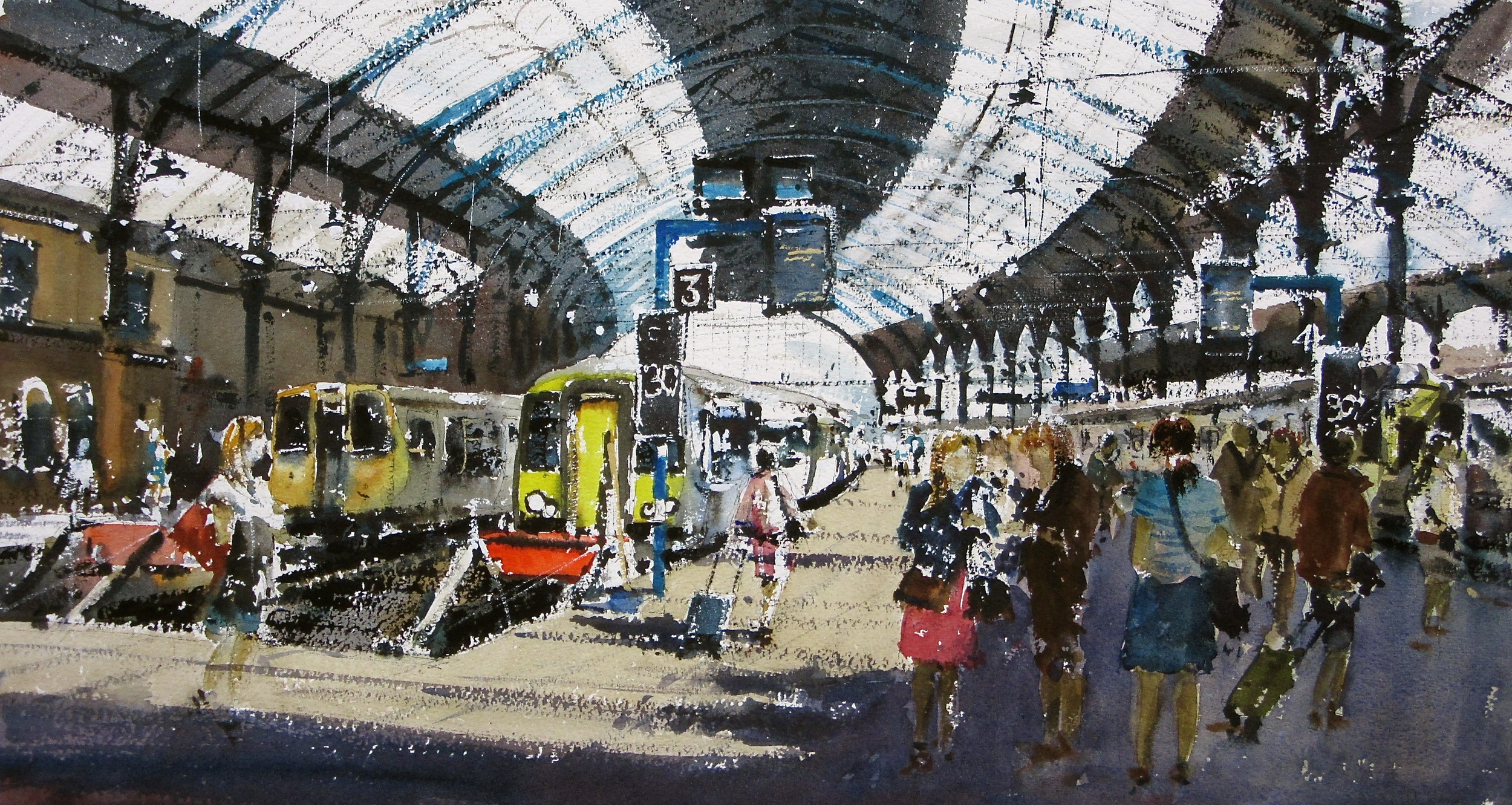 Trippers and Trains Brighton Station: 13 x 24 in: watercolour: £1150
