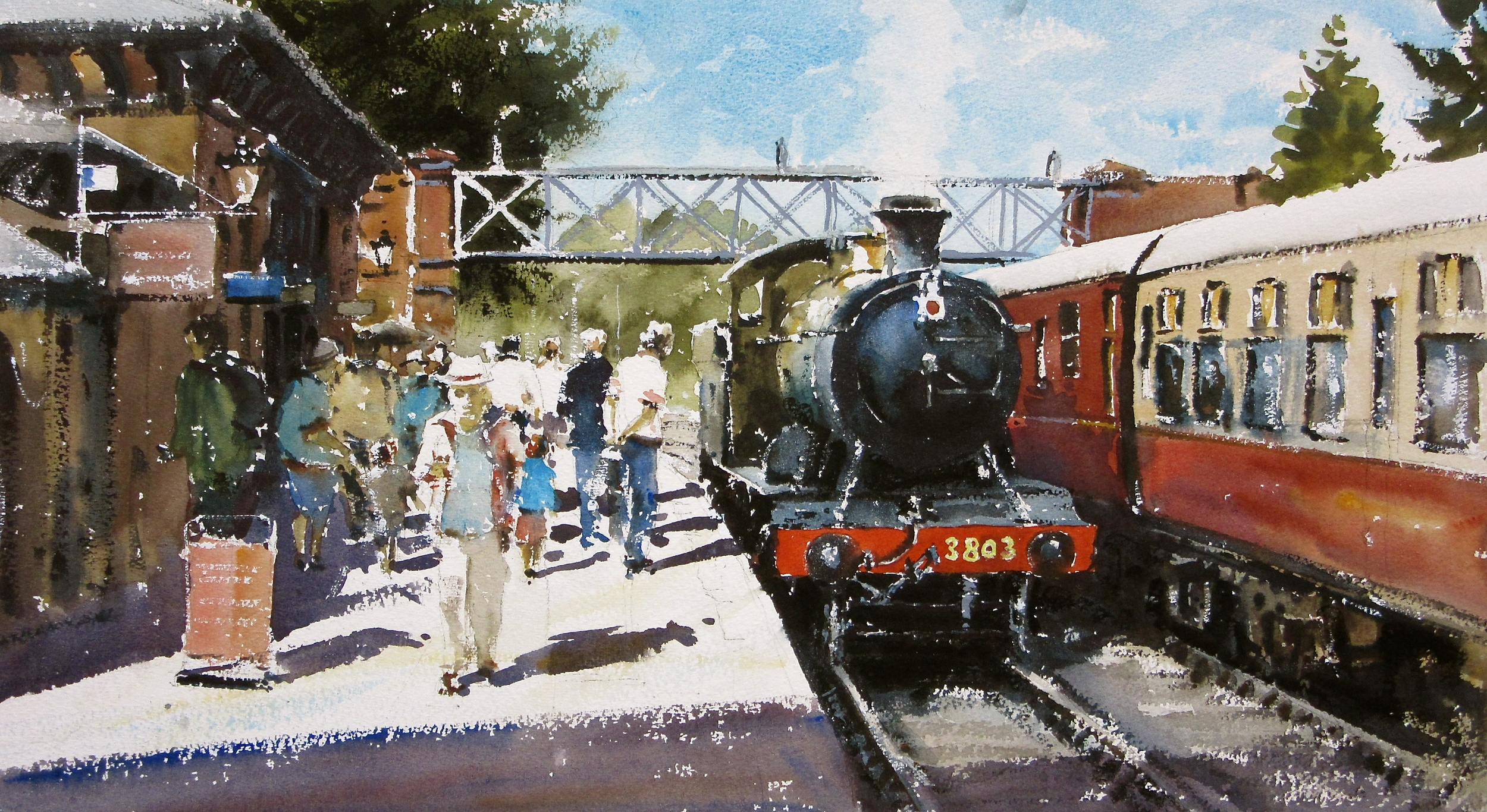 GWR 2-8-0 no. 3803 at Shackerstone: 13 x 24 in: watercolour: £1150