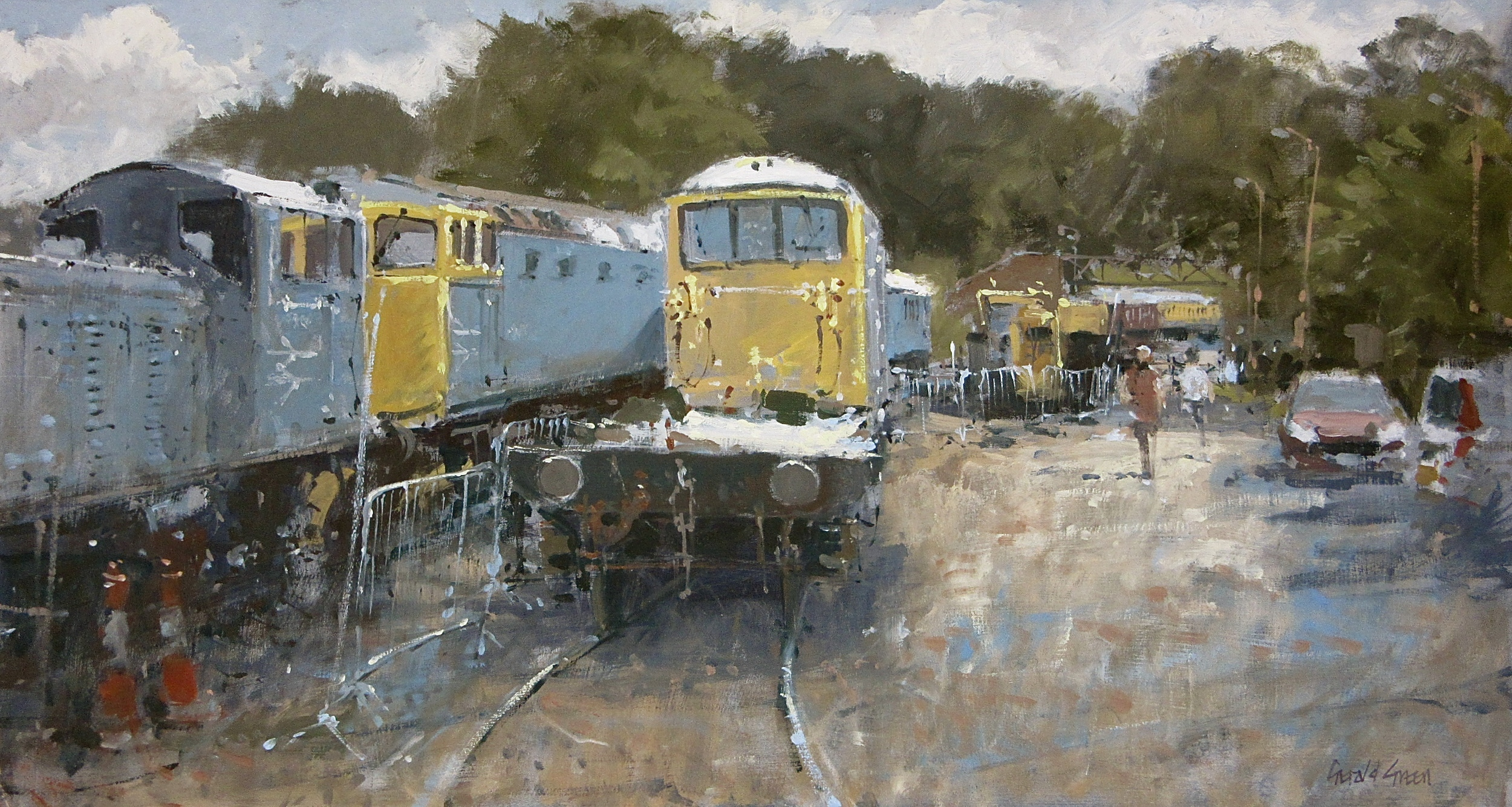 Shackerstone Sidings on The Battlefield Line Leicestershire: 13 x 24 in: oil: £1550