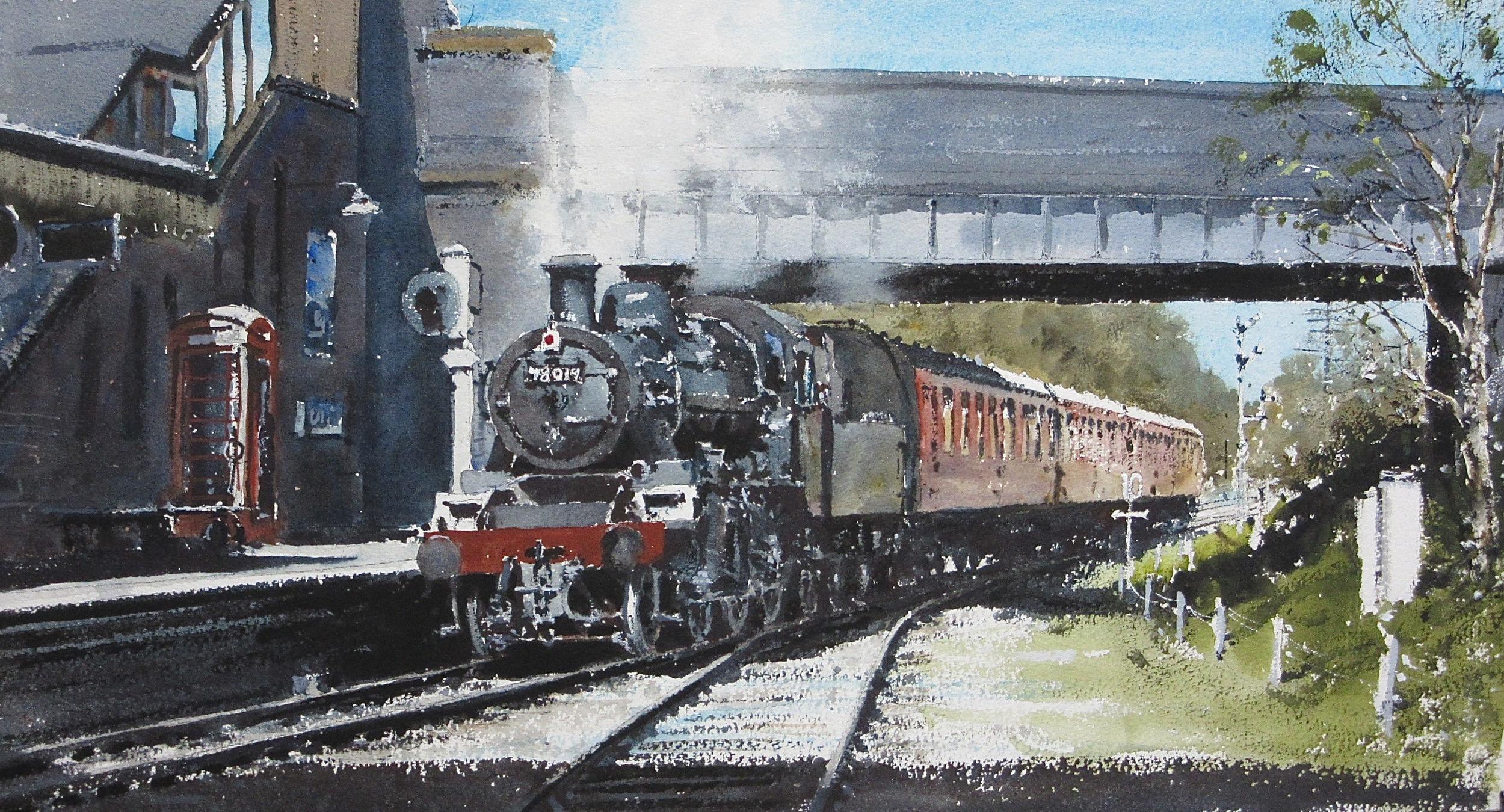 BR Standard Class 2-6-0 no. 78019 on the Down Line at Quorn: 13 x 24 in: watercolour: £1150