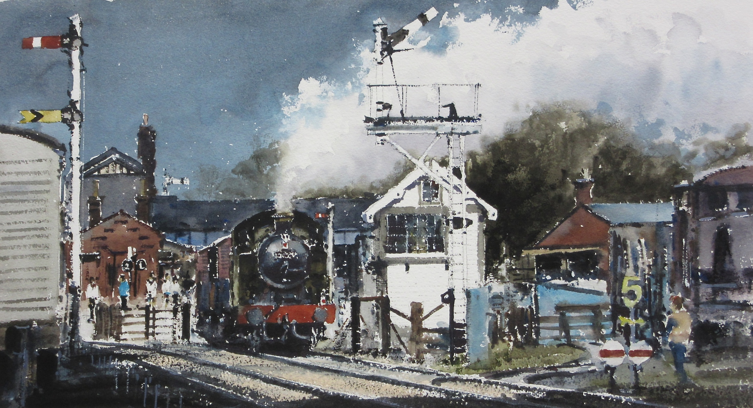GWR 0-6-2T no. 5643 Passing Quorn Signal Box: 13 x 24 in: watercolour: £1150