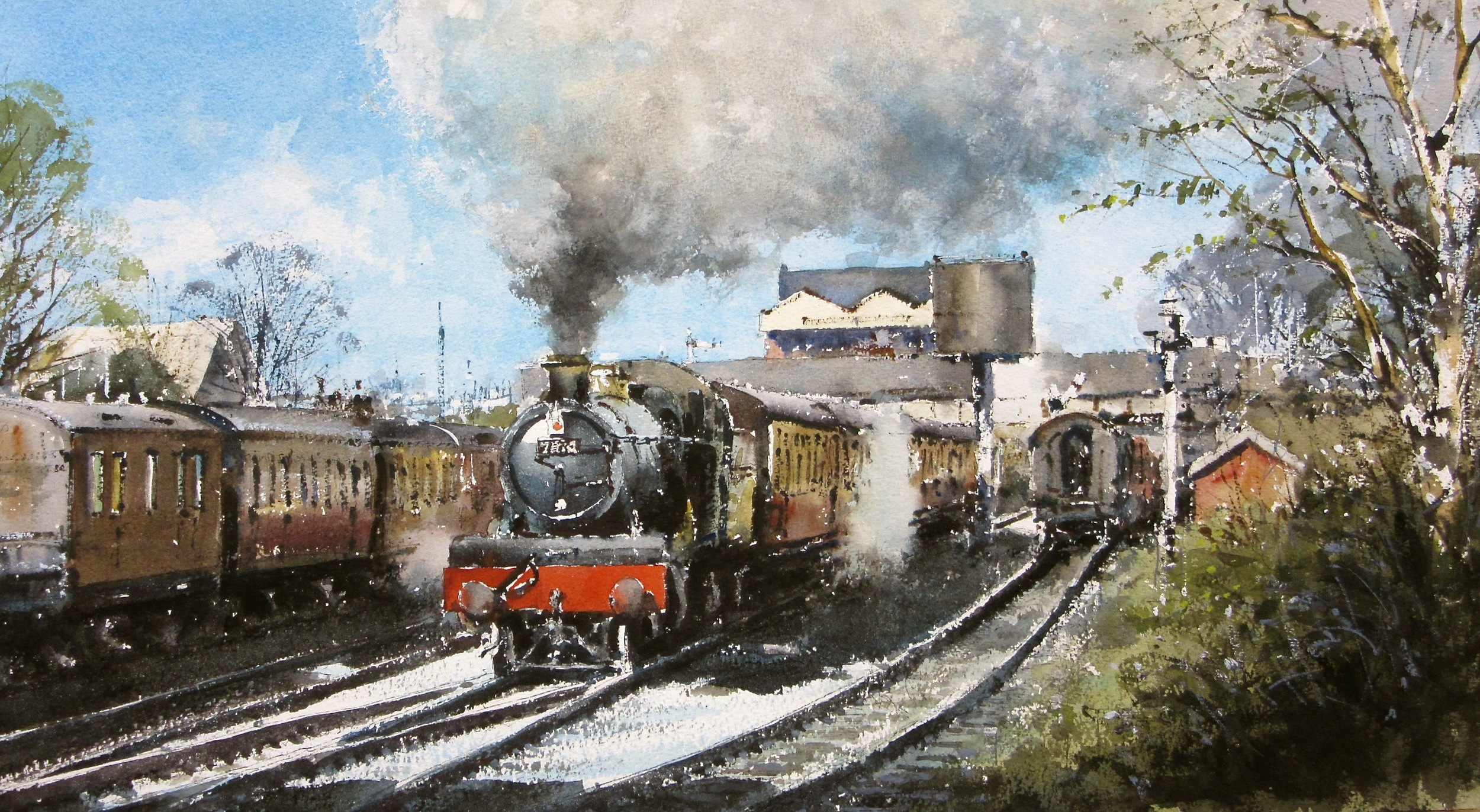 GWR 7800 Class no. 7820 Pulling out of Loughborough: watercolour: 13 x 24 in: SOLD