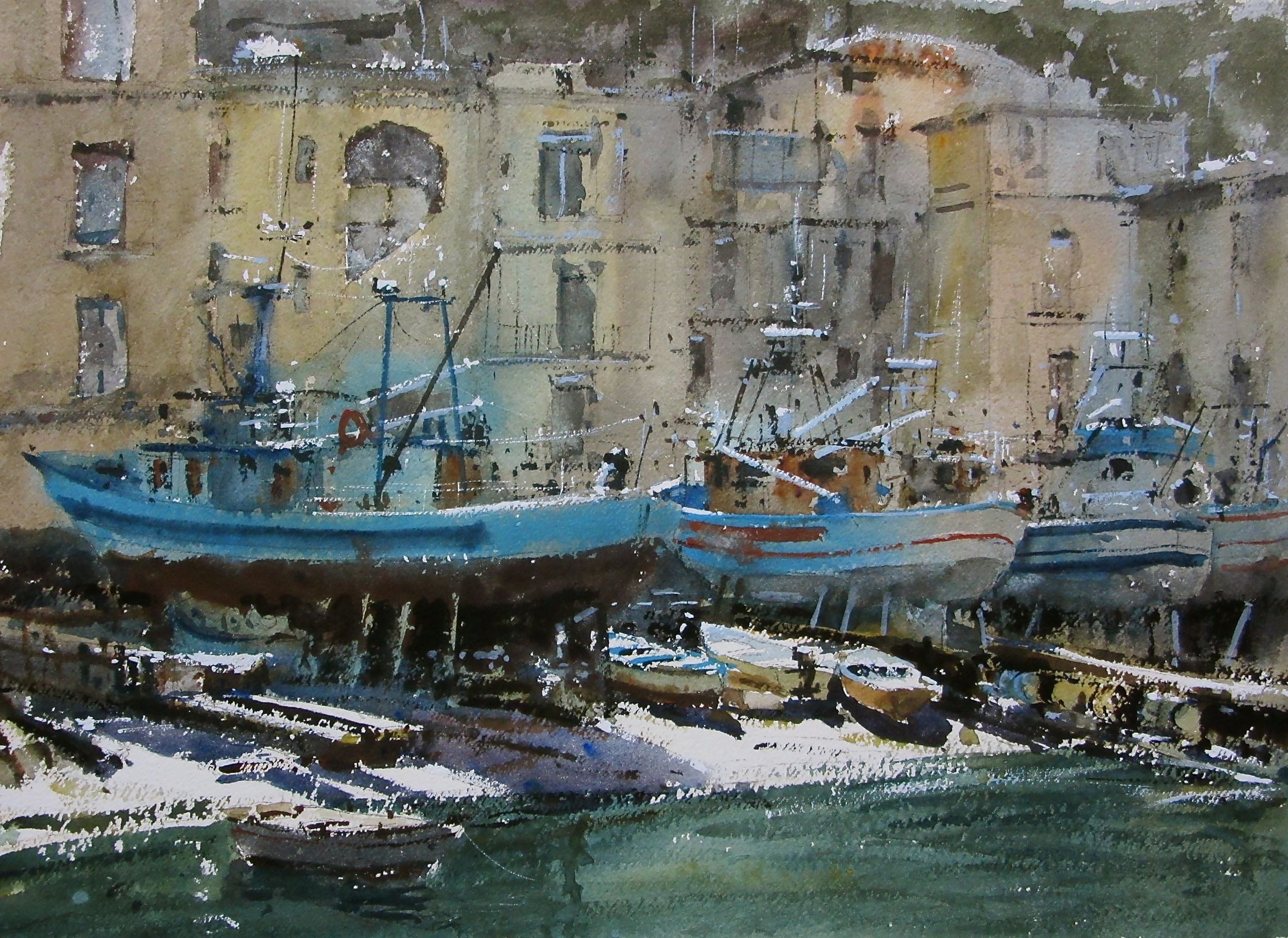 Beached Fishing Boats Sorrento: 13.5 x 19 in: SOLD