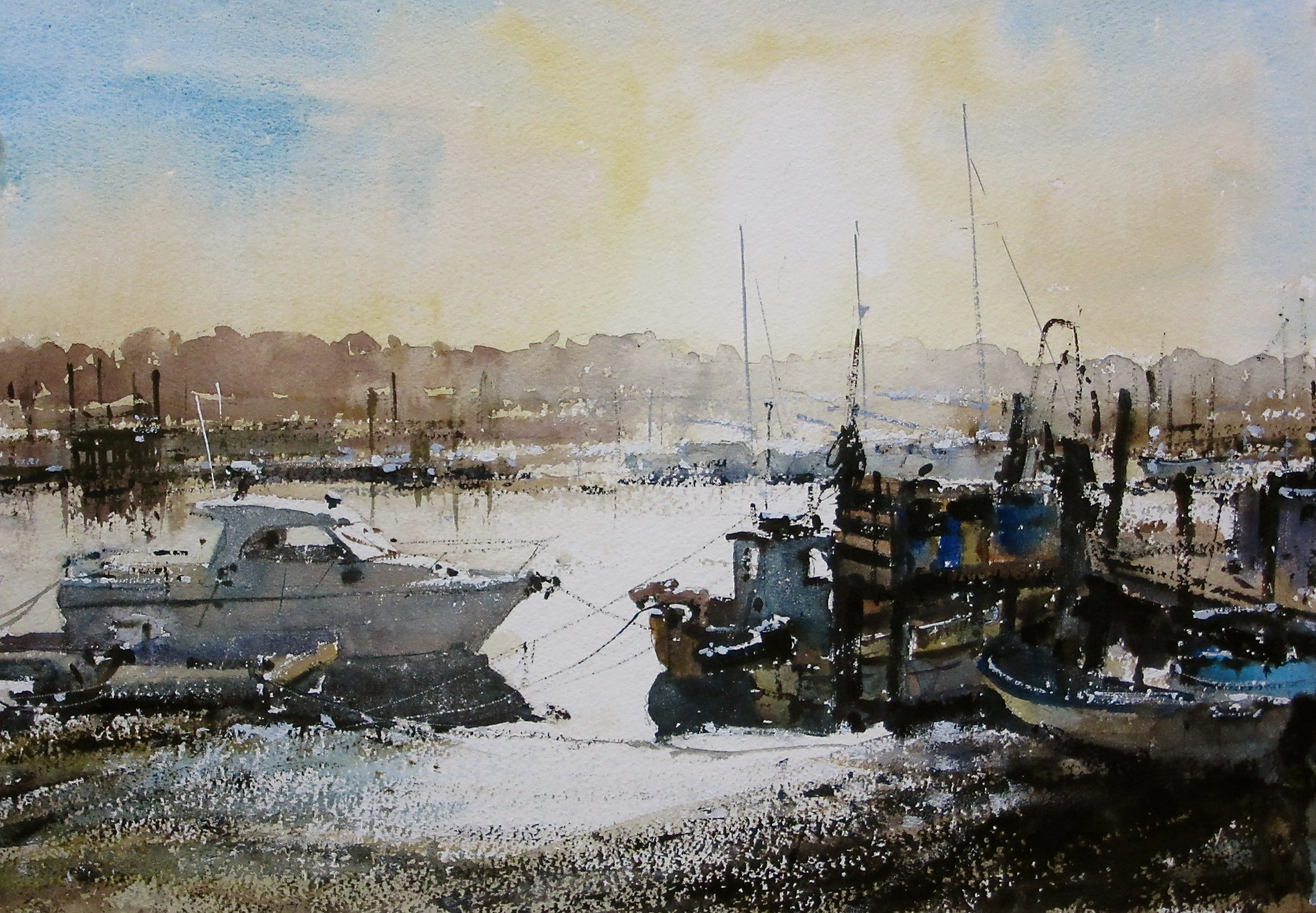 Against the Light Southwold Harbour: 13.5 x 19 in: SOLD