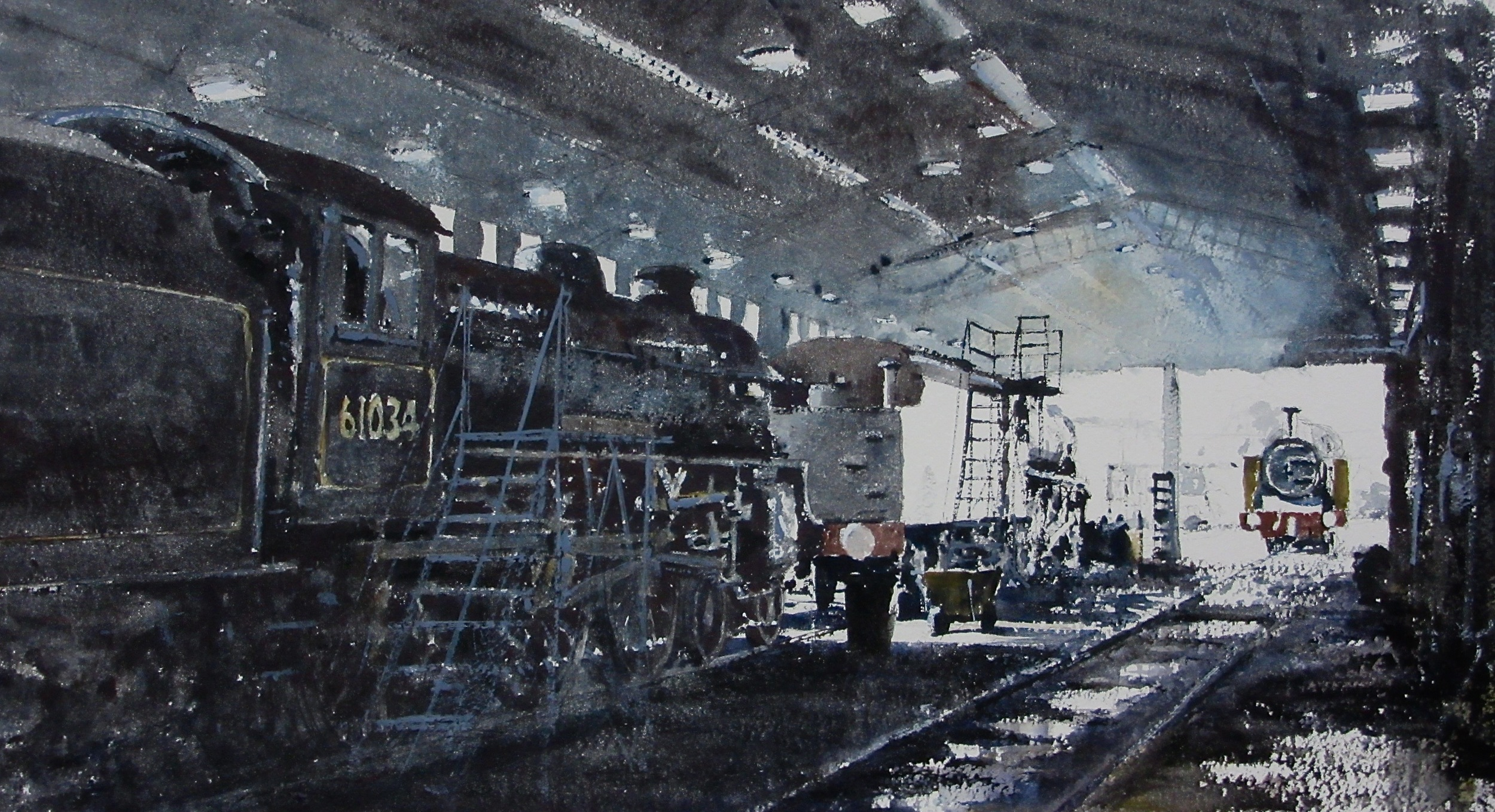 Engine Shed: 13 x 24 in: watercolour: £1150