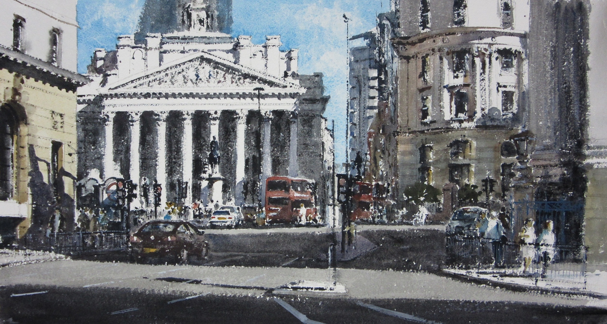 Towards the Royal Exchange London: 13 x 24 in: SOLD