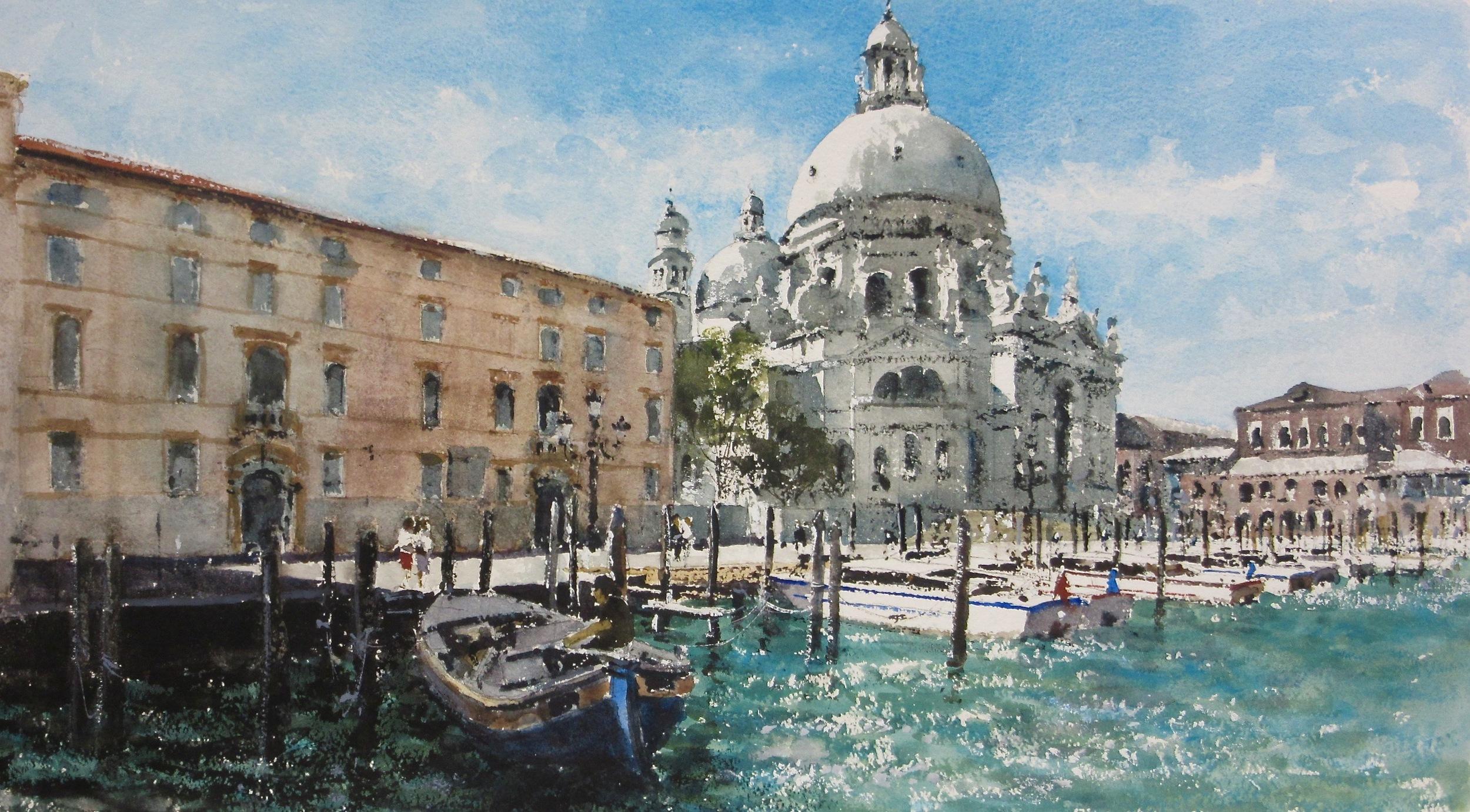 Salute Moorings Venice: 13 x 24 in: SOLD