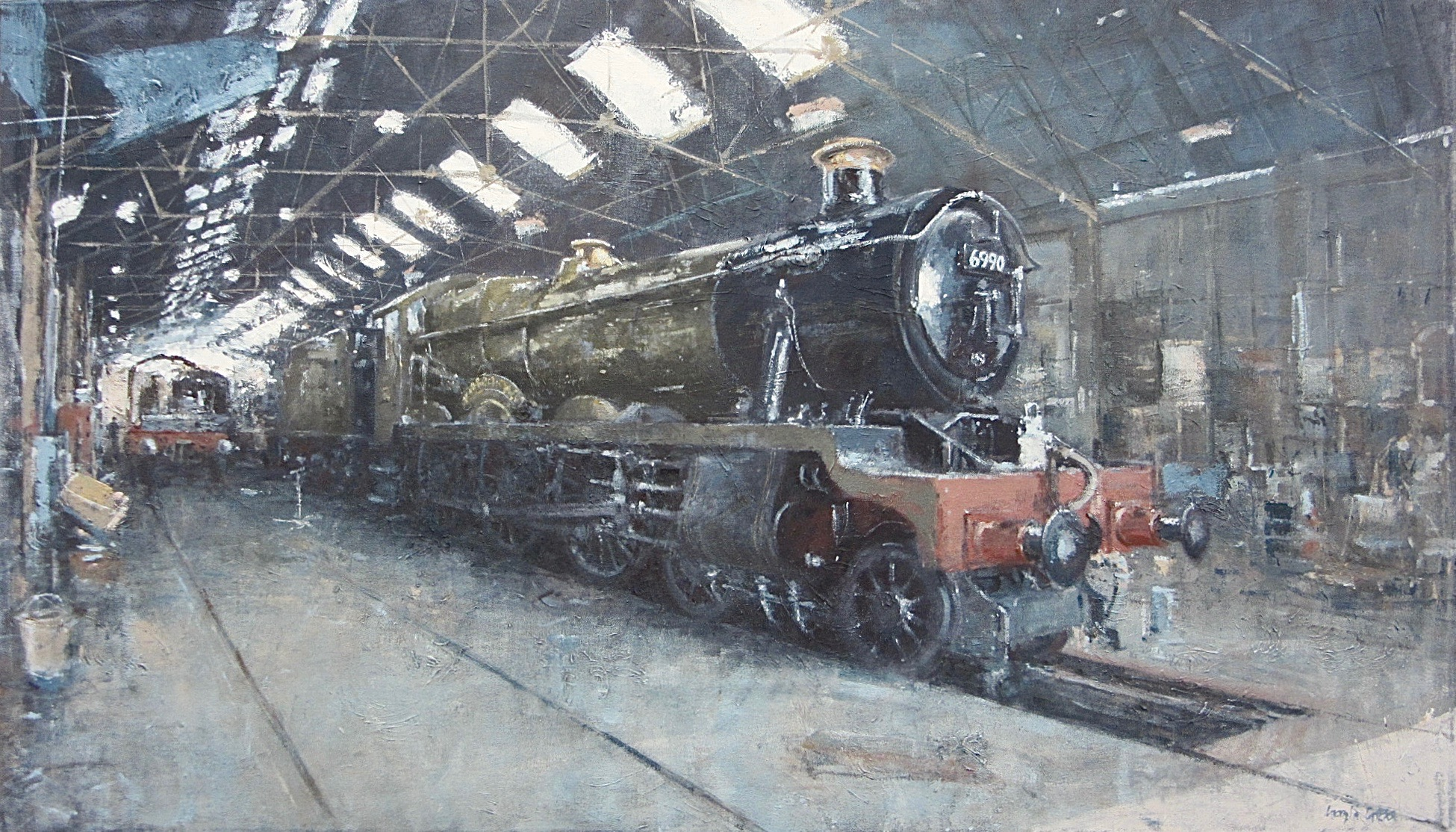 'Witherslack Hall' in the Shed on the Great Central Railway: 24 x 42 in: oil: £4800
