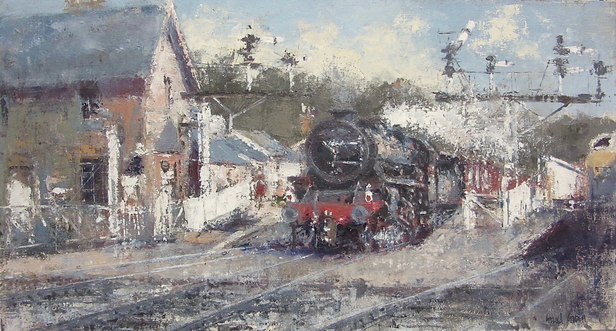 Departing from Grosmont Station: oil: 13 x 24 in: £1550