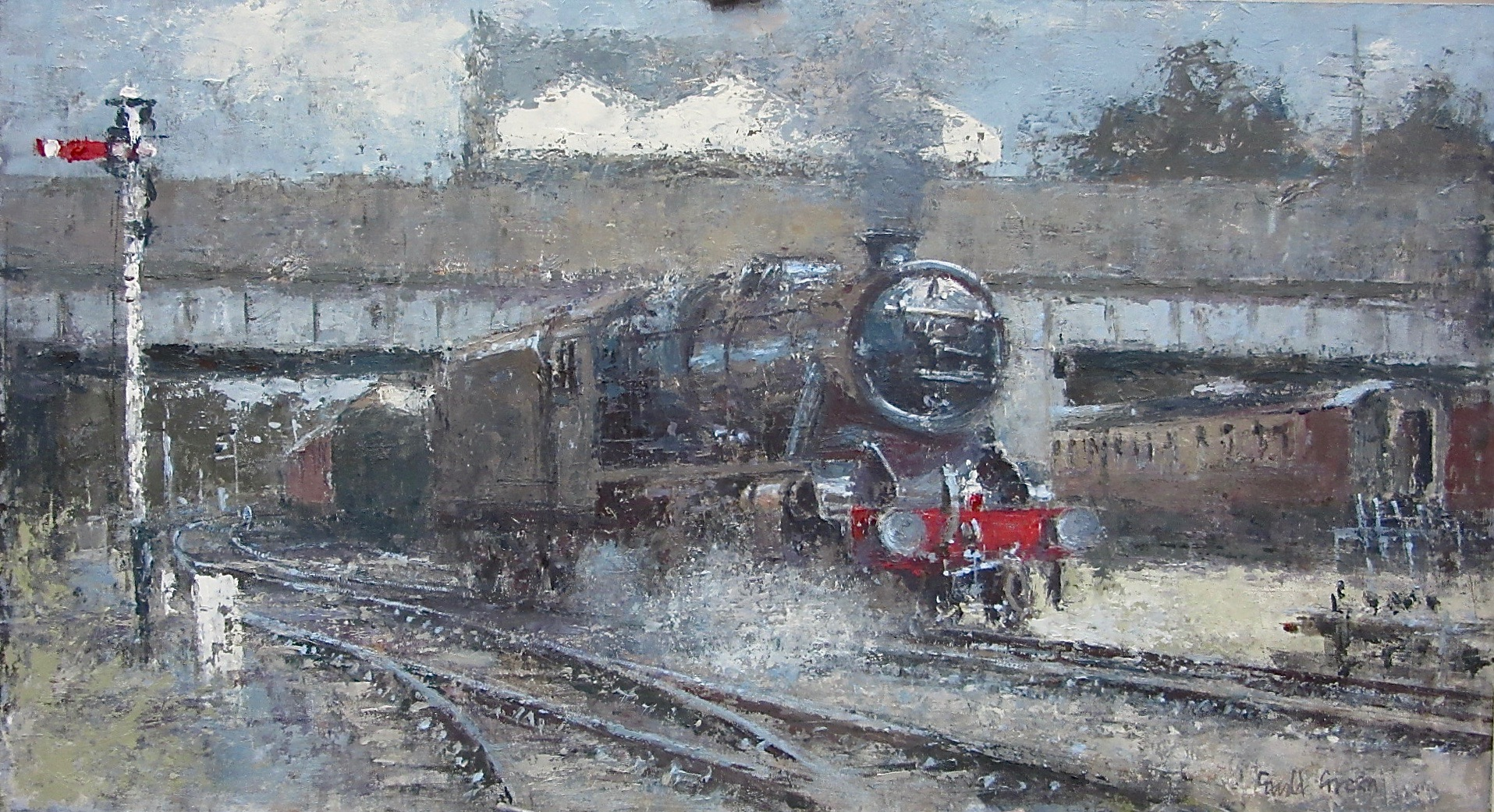 Backing into Loughborough Station: 13 x 24 in: oil: SOLD