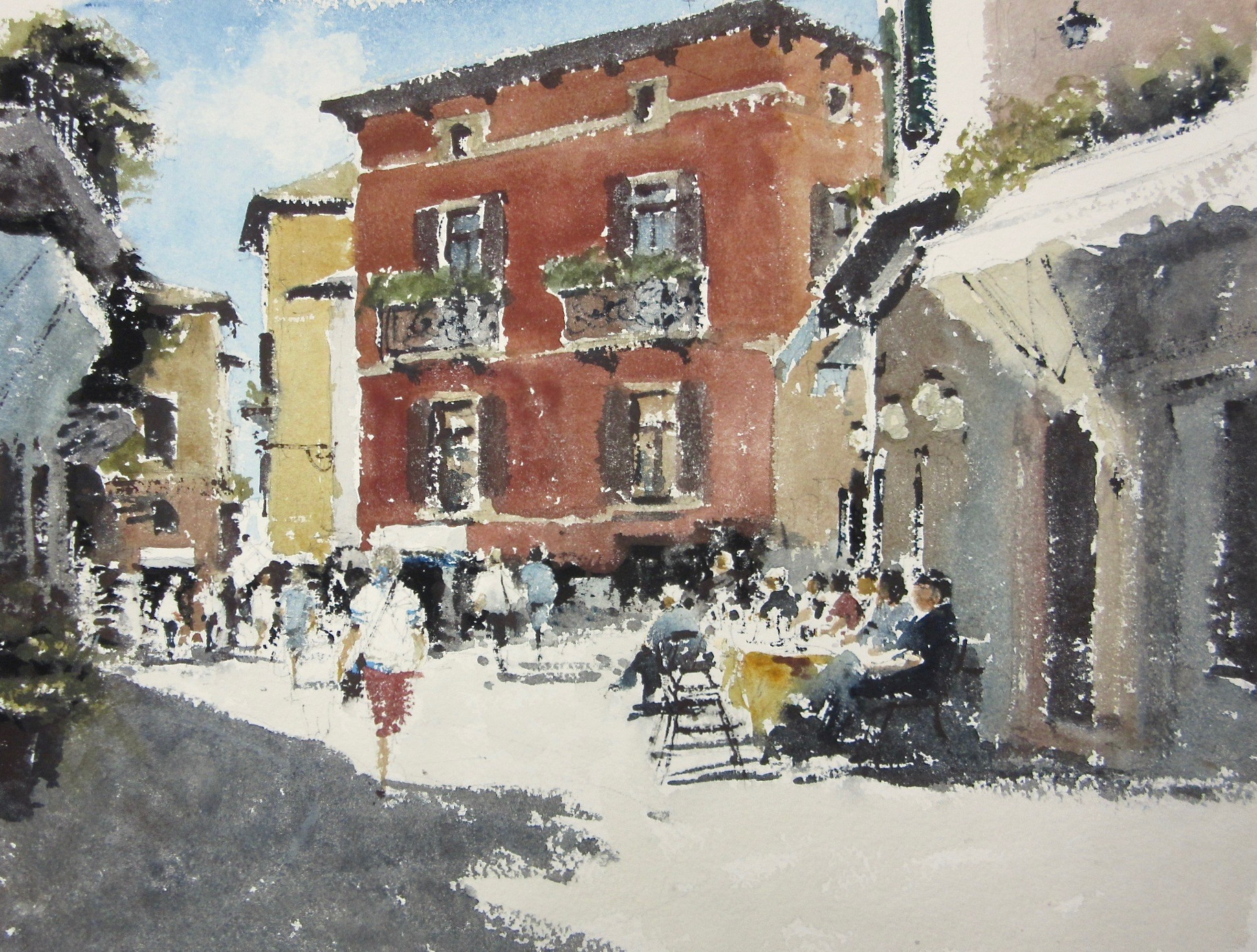 The Square Malcesine Italy: 11 x 15 .5 in: £750