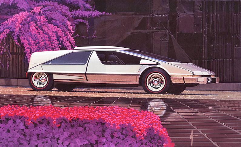 Illustration pour la couverture d'un magazine automobile, 1976