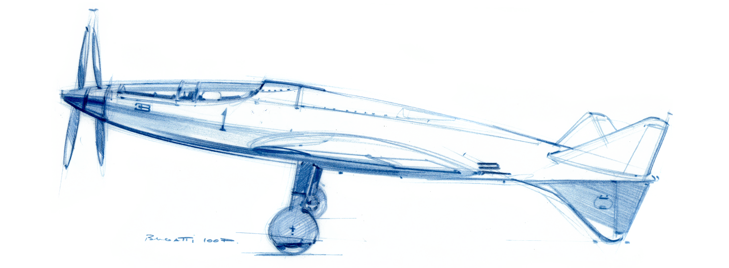 Croquis d'étude du Bugatti 100P réalisé par Laurent Negroni sur son blog  SpeedBirds .