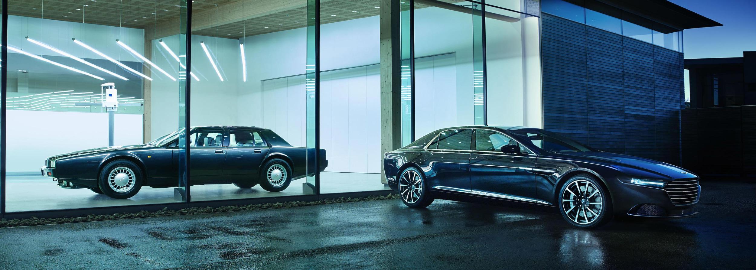 2 générations d'Aston Martin Lagonda, fer de lance de l'exclusivité bourgeoise selon Aston.