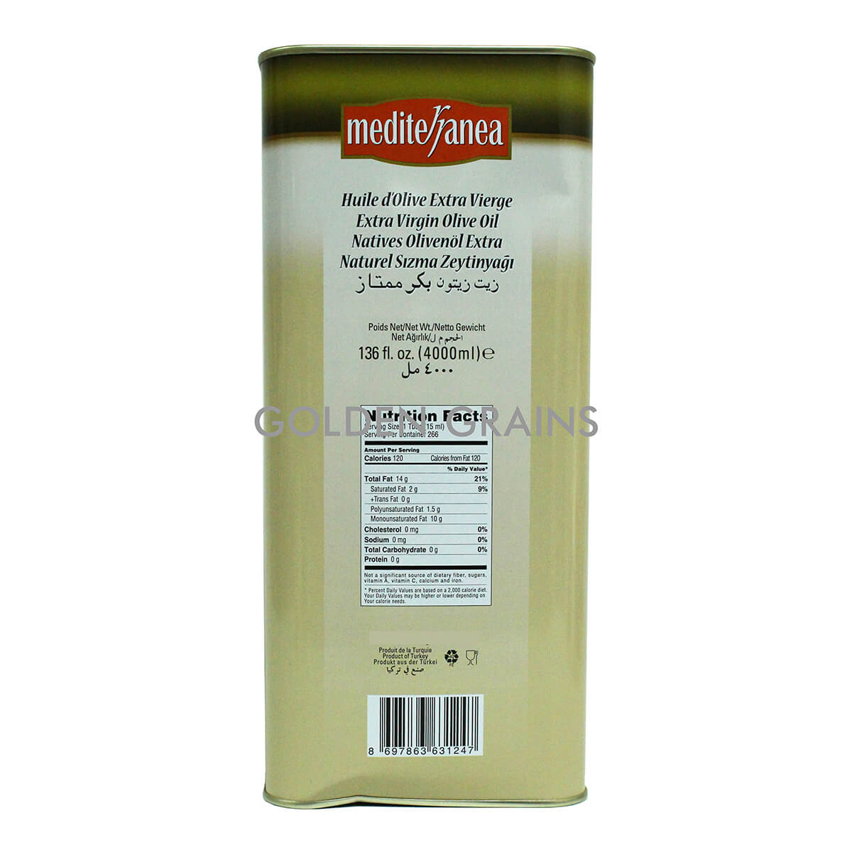 Golden Grains Mediterranea - Olive Oil - 4000ML - Back.jpg