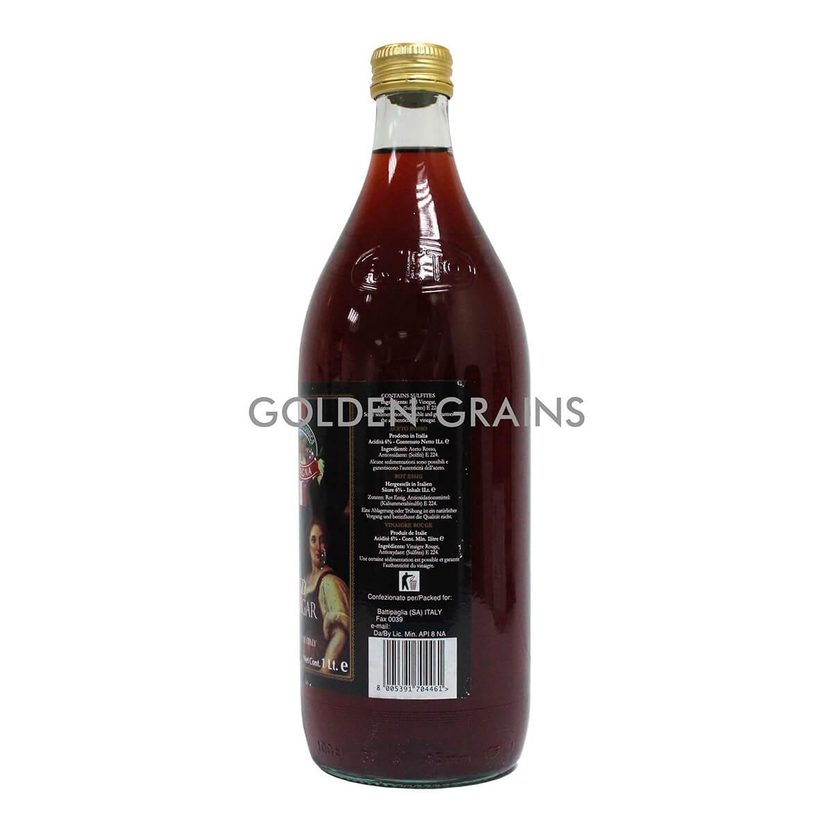 Golden Grains Campagna - Red Vinegar - 1LTR - Italy - Back.jpg