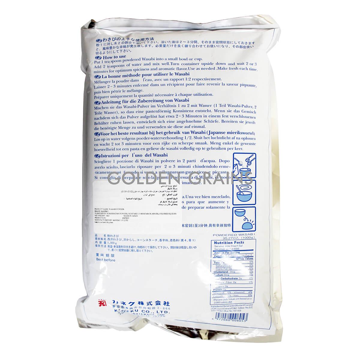 Golden Grains Dubai Export - Powdered Wasabi  - Back.jpg
