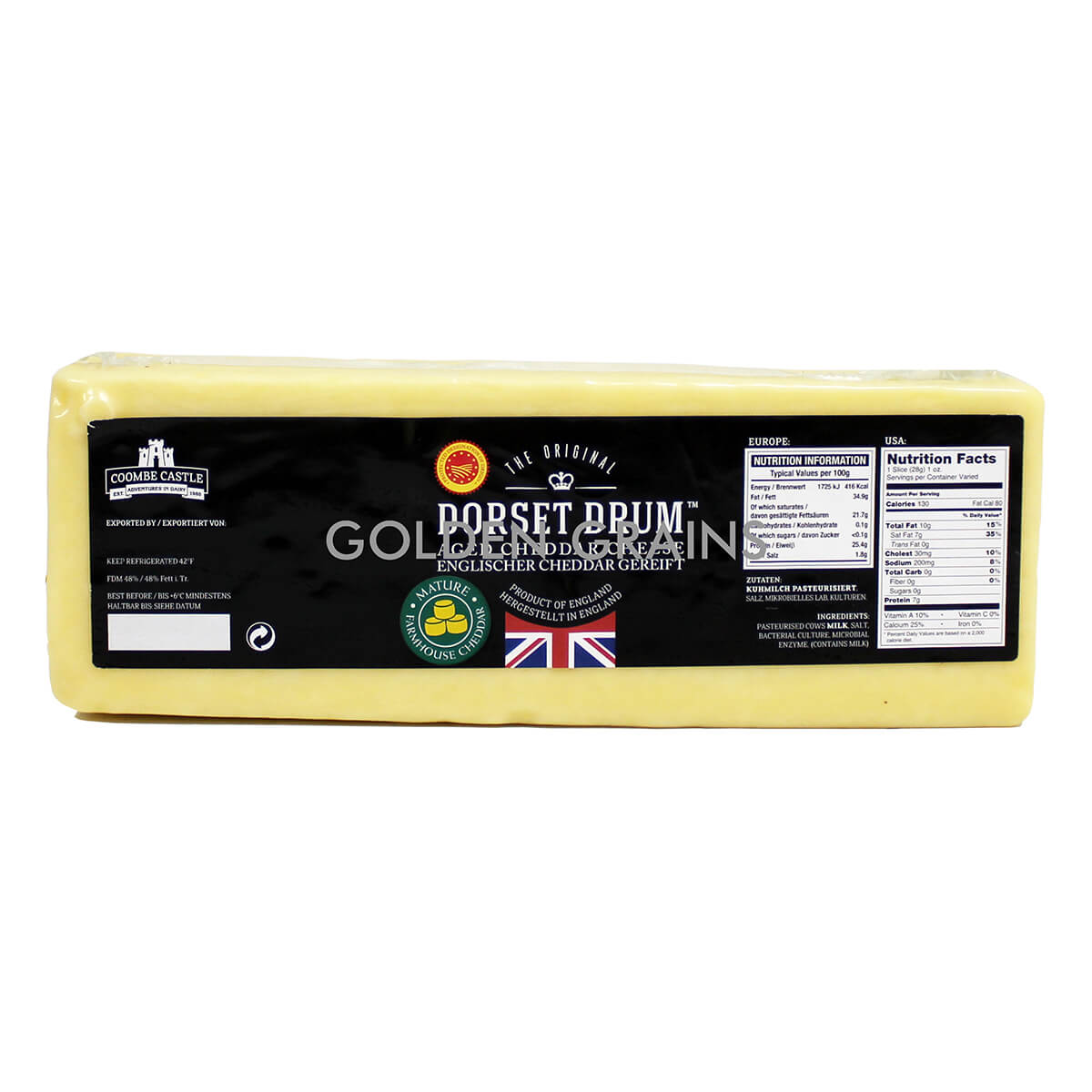 Golden Grains Dubai Export - Coombe Castle - Aged Cheddar Cheese - Front.jpg