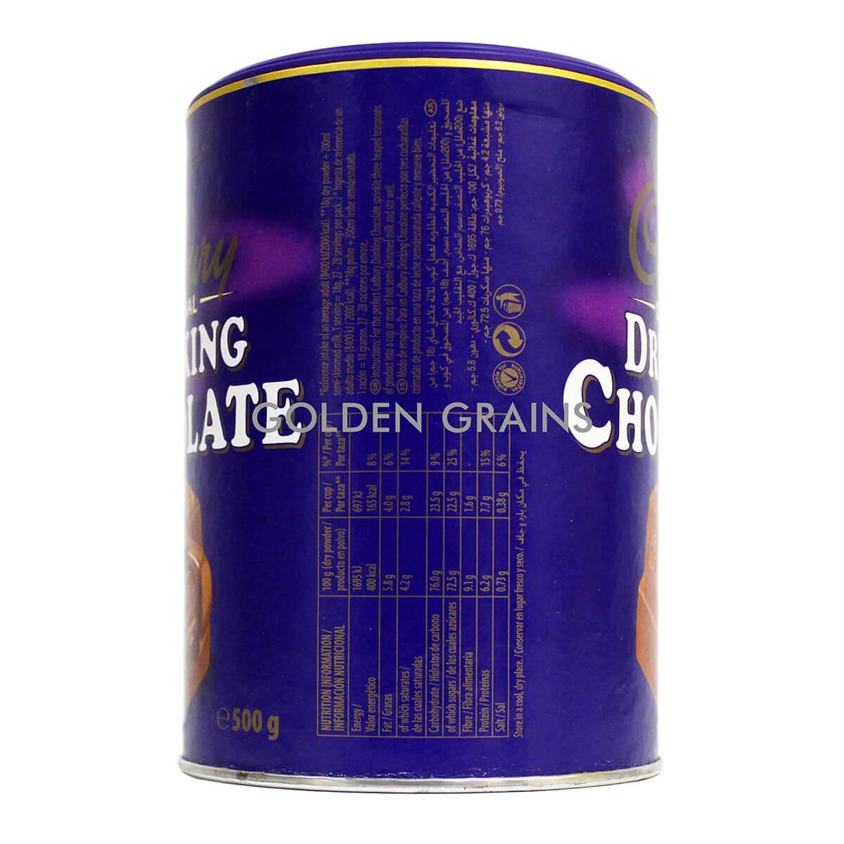 Golden Grains Cadbury - Drinking Chocolate 500G - Back.jpg